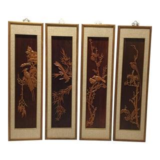Vintage Framed Hand Carved Wooden Asian Bird Panels - Set of 4 For Sale