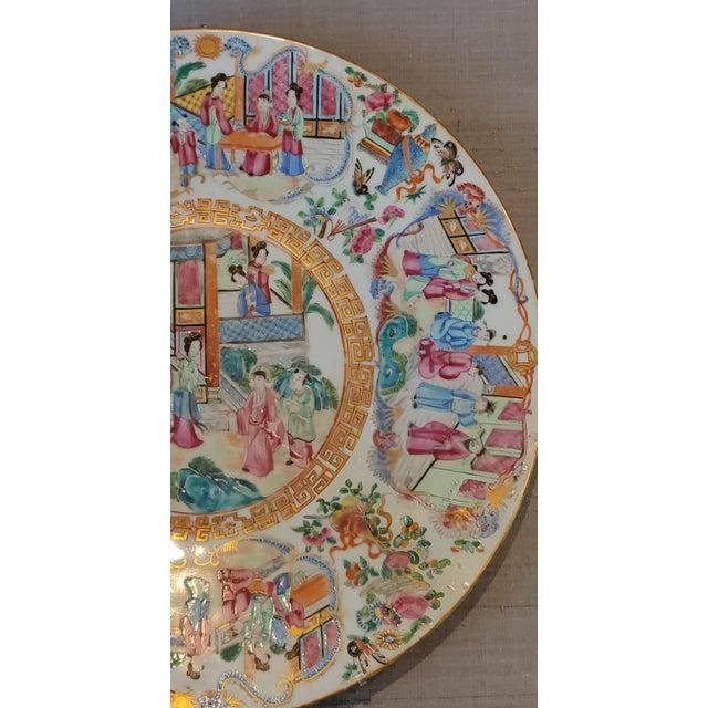 Chinese Rose Mandarin Pattern Porcelain Charger, Framed For Sale - Image 9 of 11