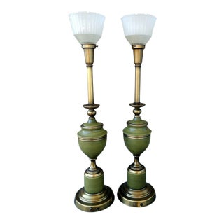 Vintage Rembrandt Brass & Green Enamel Hollywood Regency Table Lamps With Diffuser - a Pair For Sale