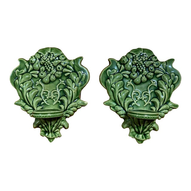 Green Majolica Fruit Wall Pockets - a Pair For Sale