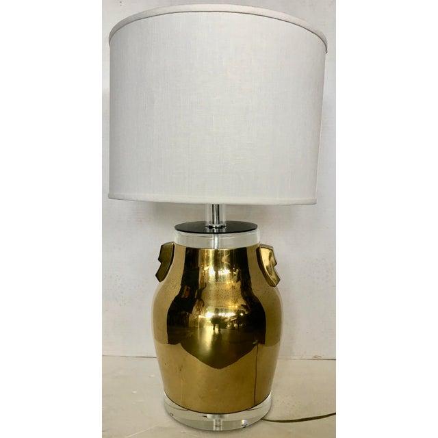 Gold Bauer Brass & Lucite Table Lamp For Sale - Image 8 of 8