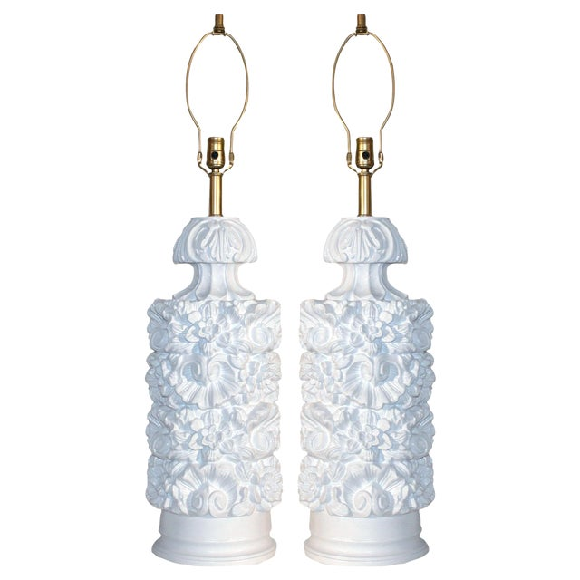 Glossy White Carved Floral Lamps - A Pair - Image 1 of 8