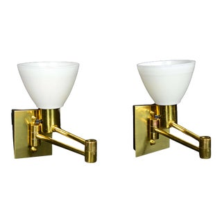 Pair Scandinavian Modern Brass Swing Arm Wall Sconces Made in Sweden For Sale