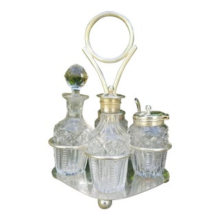 Late 19th Century Antique Silverplate English Cut Crystal Cruet Set - 7 Pieces For Sale