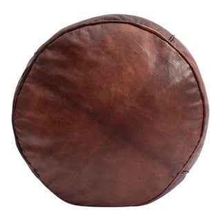 1990s Vintage Moroccan Chocolate Leather Plain Drum Pouf For Sale