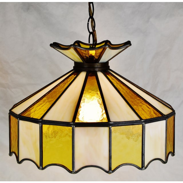 Mid 20th Century Vintage Tiffany Style Leaded Glass Pendant Light Chandelier For Sale - Image 5 of 13