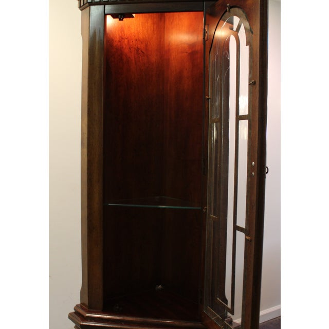 Two-Piece Lighted Cherry Curio Corner Cabinet - Image 5 of 11