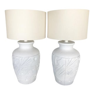 1980s Textured Table Lamps - a Pair For Sale
