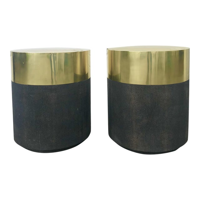 size 40 aadf7 82e0d Made Goods Shagreen and Brass Drum Side Tables-A Pair