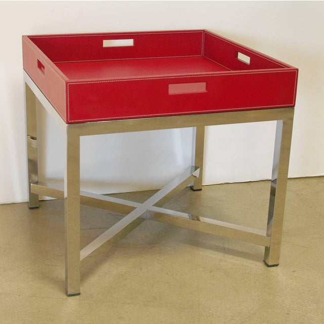 Modern Red Leather and Stainless Steel Tray Table by Fabio Ltd For Sale - Image 3 of 8