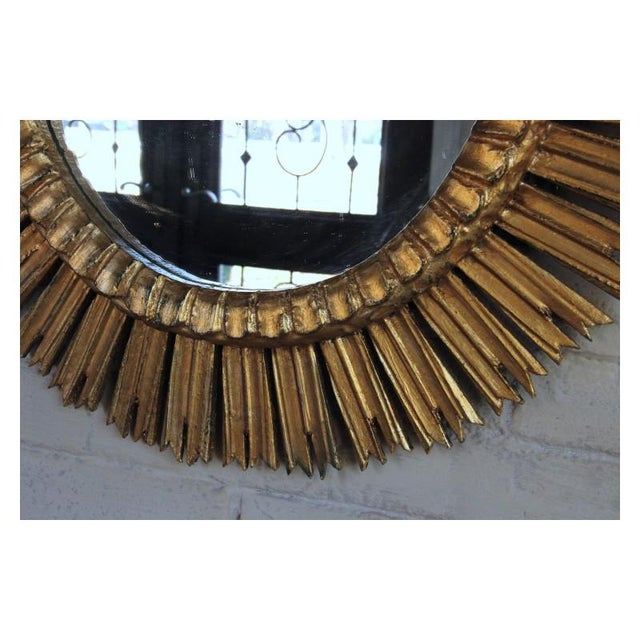 Mid-Century French Sunburst Mirror With Original Mirror Glass For Sale - Image 4 of 9