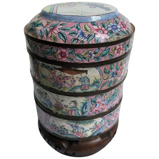 Canton Enamel Three-Part Jar on Stand For Sale