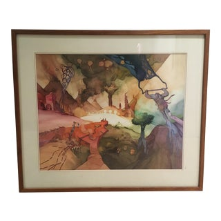 Surrealist Watercolor by J Kazman For Sale