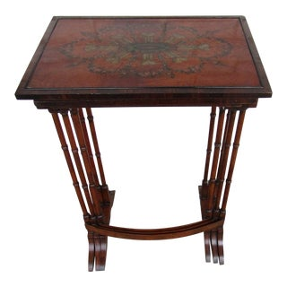 1940s Neoclassical Hand Painted Nesting Tables - Set of 3 For Sale