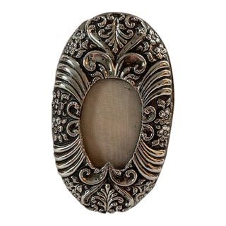 1900's Art Nouveau Oval Sterling Frame For Sale