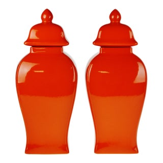 Vintage Orange Ceramic Ginger Jar Style Temple Jars - a Pair For Sale
