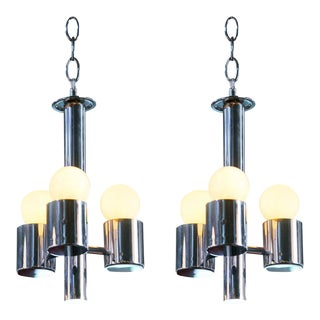 Raak Mid-Century Modern Chrome Petite Chandelier For Sale