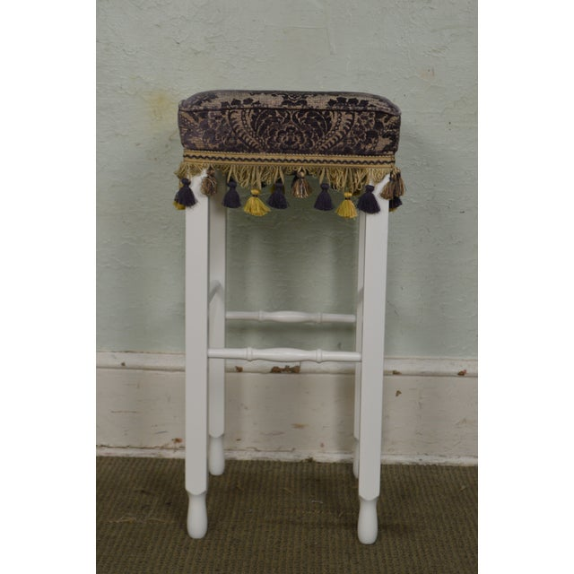 Traditional White Bar Stools w/ Upholstered Seats - Set of 4 For Sale - Image 3 of 11