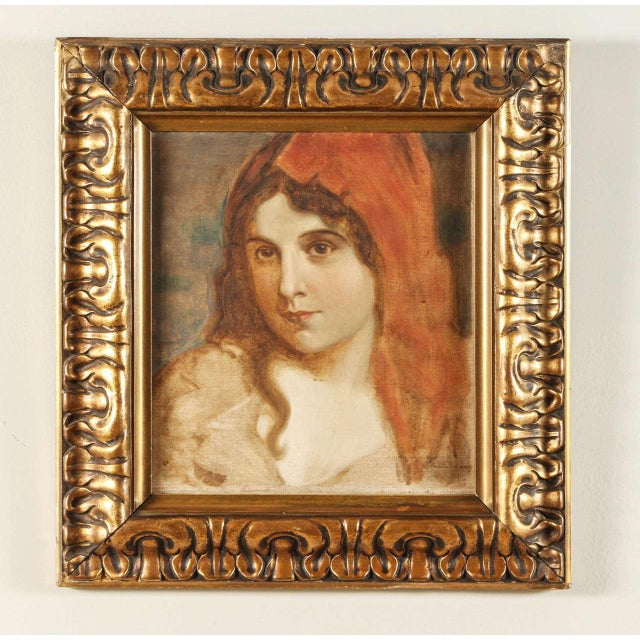 1920s 1920s Antique Portrait of a Woman Oil Painting For Sale - Image 5 of 7