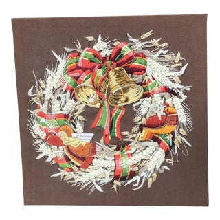 Vintage Holiday Nature's Bounty Wreath Crewel Embroidery Textile Art For Sale