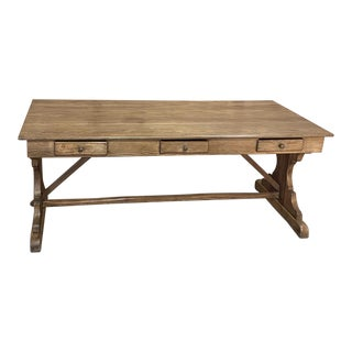 Rustic Antique Heart Pine Partner's Desk ~ Conference Table For Sale