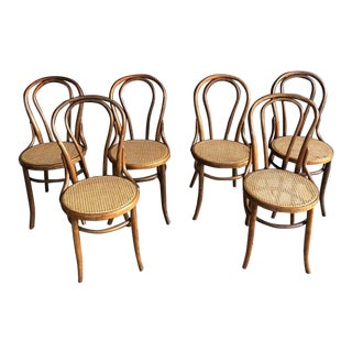 Vintage Thonet Style Cafe Bentwood Chairs - Set of 6 For Sale