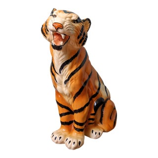 Large Italian Style Hand Painted Ceramic Tiger Figurine For Sale