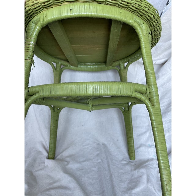 1980s Vintage Avocado Green Wicker Side Table For Sale - Image 5 of 8