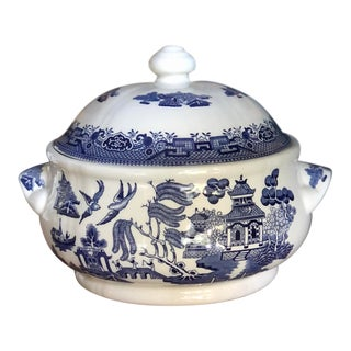Churchill Blue Willow Serving Dish With Lid For Sale