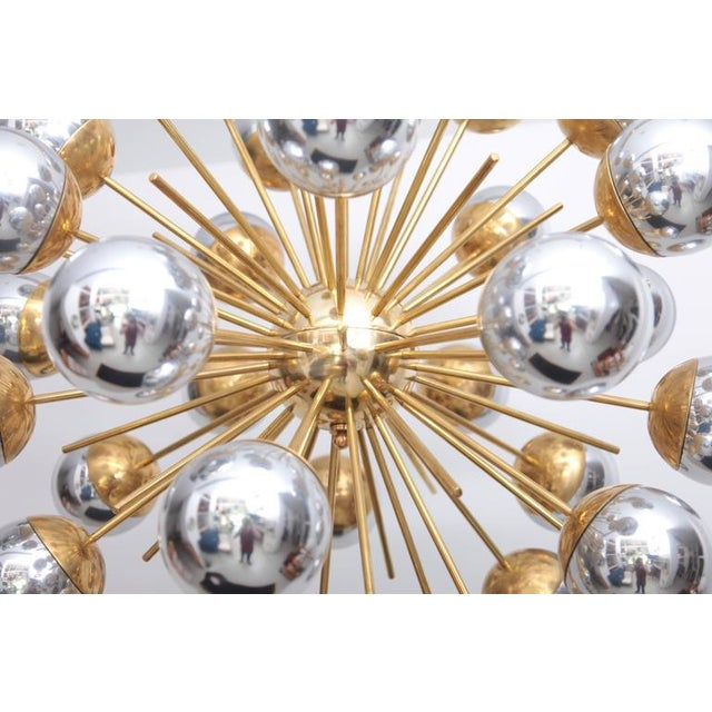1 of 2 Exceptional Huge Sputnik Murano Glass and Brass Chandelier For Sale - Image 5 of 6