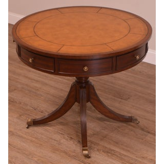 Ethan Allen Mahogany Leather Top Round Bradford Rent Drum Table Preview