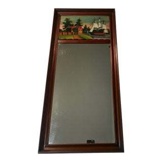 Antique Trumeau Mirror With Reverse Glass Painting