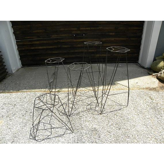 Contemporary Vintage Mid Century Wire Plant Stands - Set of 5 For Sale - Image 3 of 3