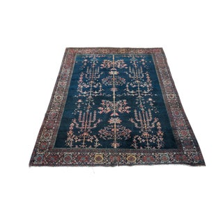 """Antique Farahan Sarouk Persian Area Rug - 4'1""""x6'4"""" Navy and Pink For Sale"""