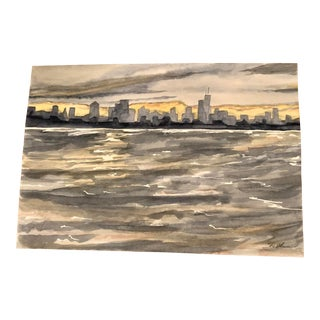 """Skyline"" Original Watercolor Painting by Nancy Smith For Sale"