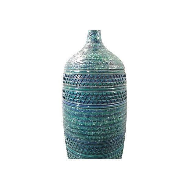 Bitossi Bitossi Turqoise Blue Large Ceramic Lamp For Sale - Image 4 of 6