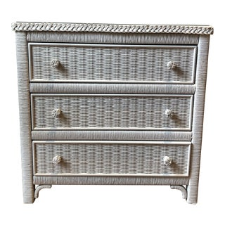 Henry Link White Wicker Nightstand For Sale