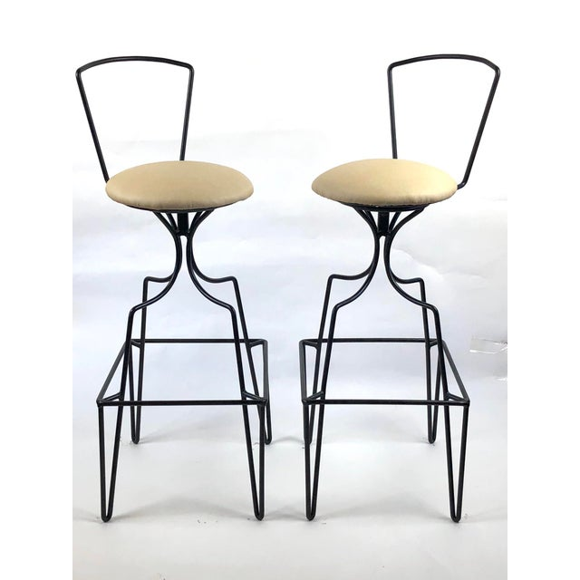 Mid Century Wrought Iron Swivel Bar Stools - a Pair For Sale - Image 10 of 10