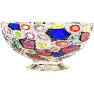 Fratelli Toso Murano Millefiori Flower Star Mosaic Italian Art Glass Footed Bowl For Sale
