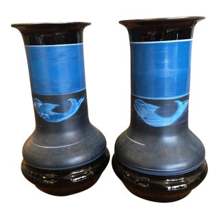 Pair of Swedish Blown Glass Vessels For Sale