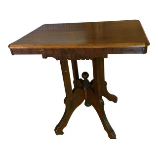 Eastlake Victorian Burl Walnut Table For Sale