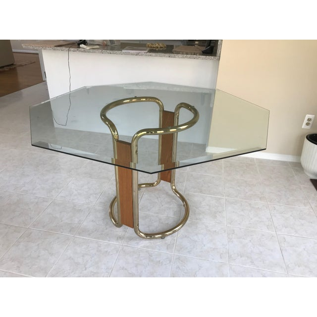 Hexagon Glass Dining Table Chairish - Hexagon glass dining table