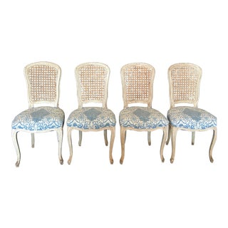 Italian Louis XV Painted Caned and Upholstered Side Chairs - Set of 4 For Sale