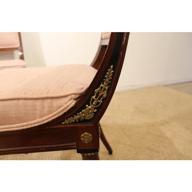 Mahogany Set of 4 French Regency Mahogany Ormolu Carved Dining Chairs For Sale - Image 7 of 11