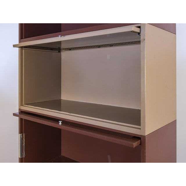 1960s Two-Tone Tall Metal Barrister Bookcases - 2 pieces For Sale - Image 5 of 9