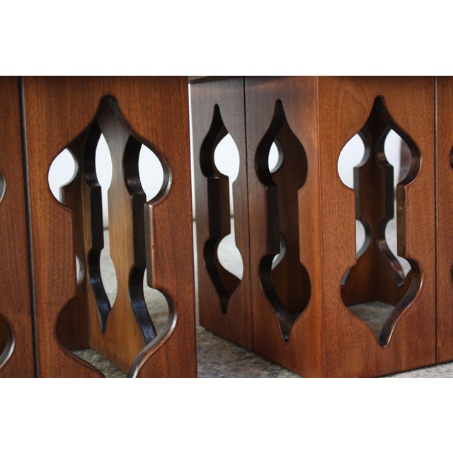 Wood Pair of Vintage Moorish Style Walnut Side Tables with Carved Decoration For Sale - Image 7 of 12