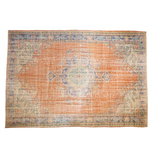 "Vintage Distressed Oushak Carpet - 6'8"" X 9'6"" For Sale"