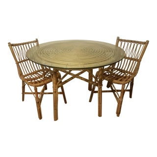 Vintage Franco Albini Rattan Table & Chairs For Sale