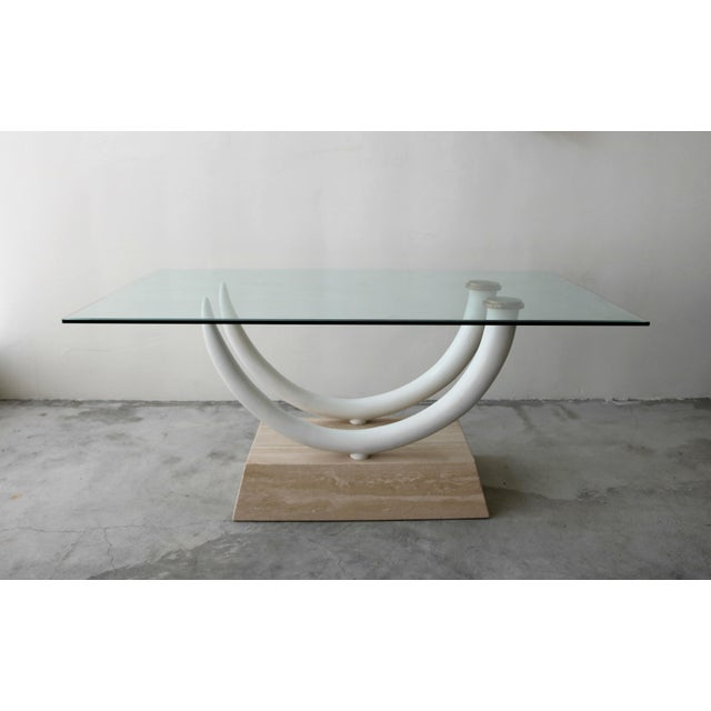 Art Deco Tusk and Travertine Dining Table in the Manner of Karl Springer For Sale - Image 3 of 8