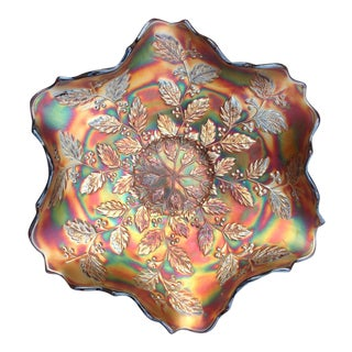 Amethyst Carnival Glass Holly Bowl